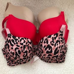 3 pink Victoria's Secret lightly lined bra 34DD